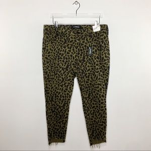 Express Raw Hem Animal Print Mid Rise Ankle Leggin